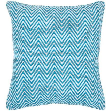 Textured Contemporary Cotton Pillow - Blue/White