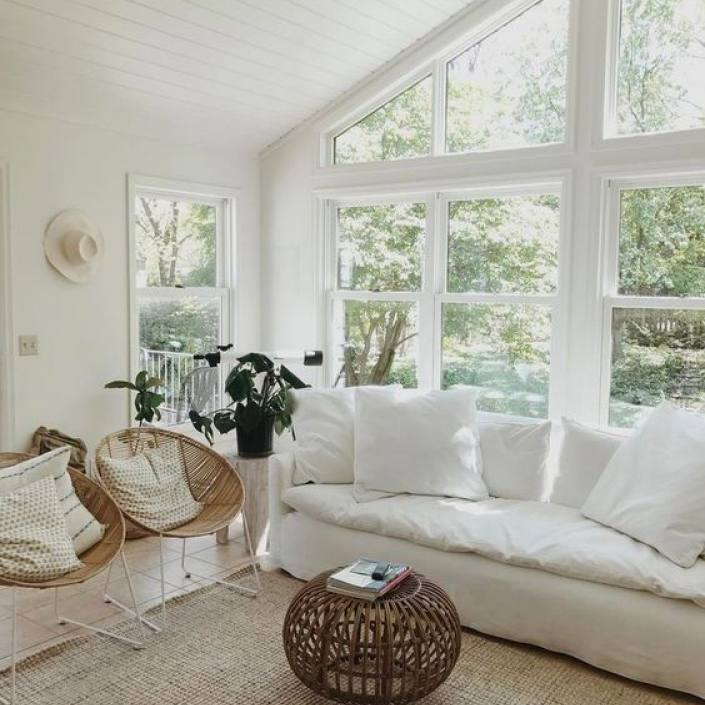 White modern bohemian coastal bright living room