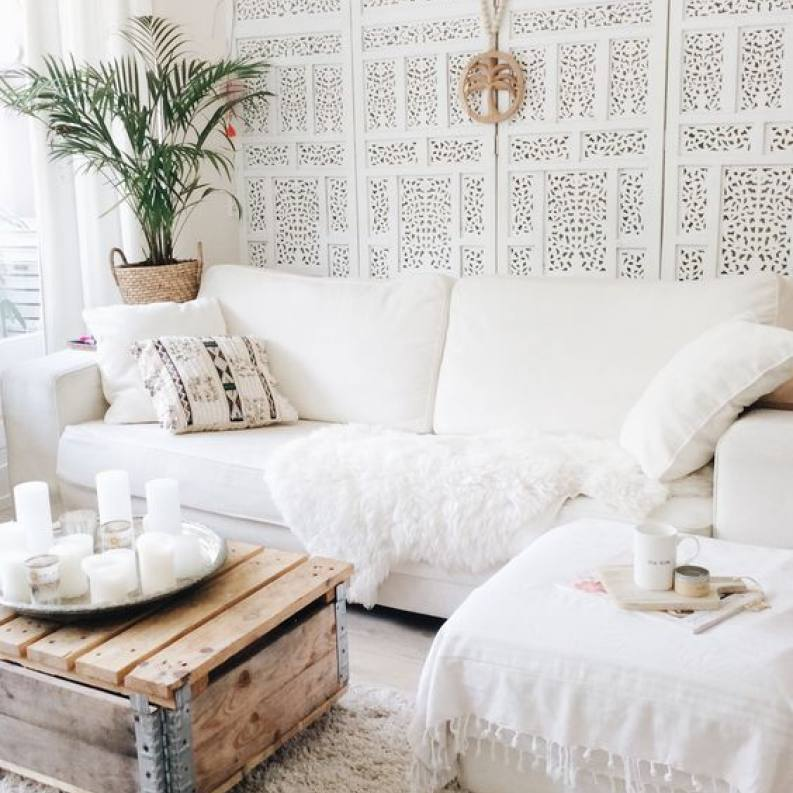 Urban boho chic all white living room