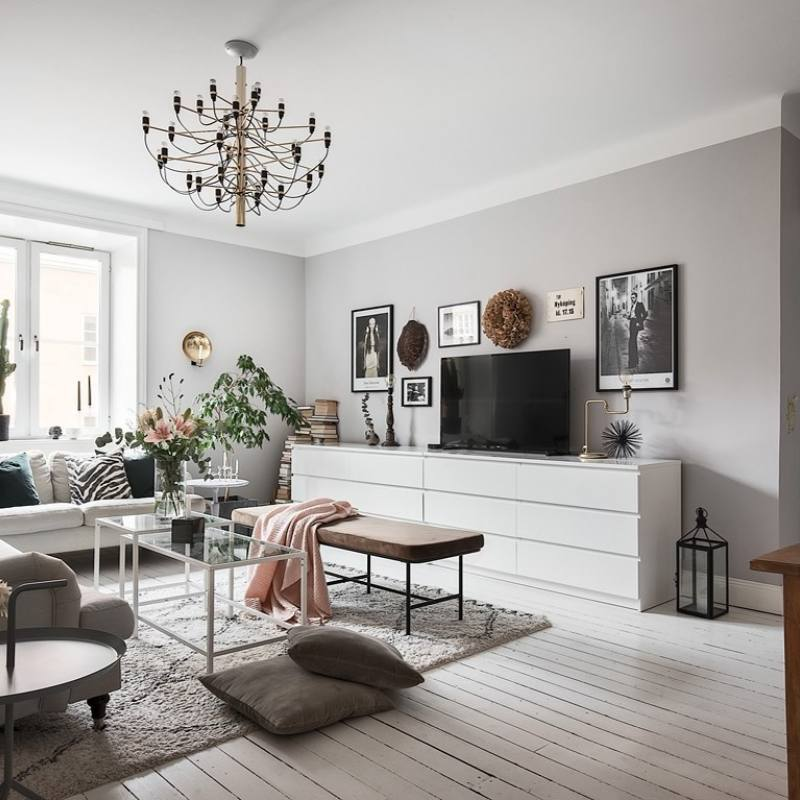 Casual gray scandinavian living room