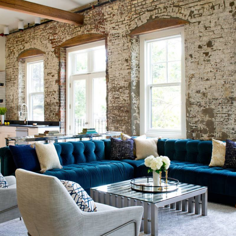 Blue sectional contemporary living room
