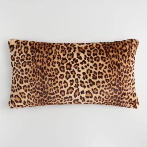 Oversized Leopard Print Faux Fur Lumbar Pillow