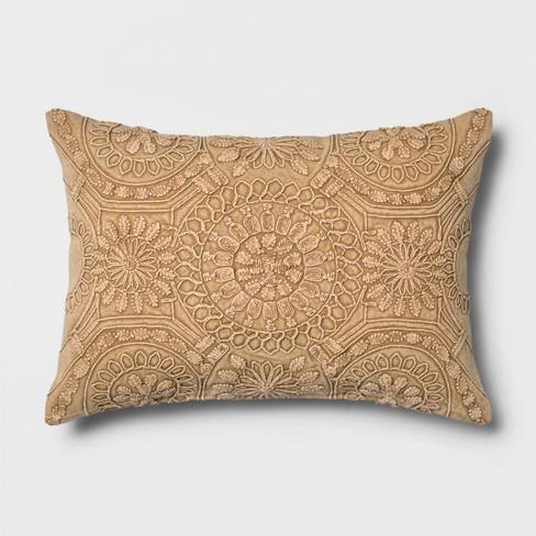 Washed Medallion Lumbar Throw Pillow Gold - Threshold�