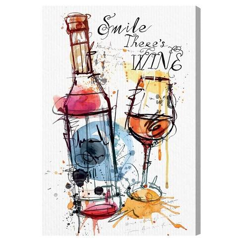 "Oliver Gal Unframed Wall ""Smile Wine"" Canvas Art"