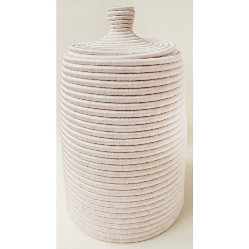 Deka Lidded Basket, Blush