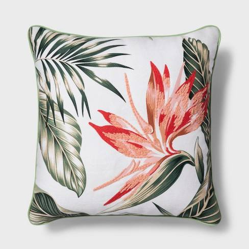 Tropical Floral Square Throw Pillow Coral - Threshold�