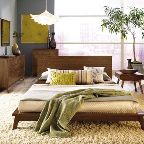 Mid-Century modern bedroom with yellow and green accents