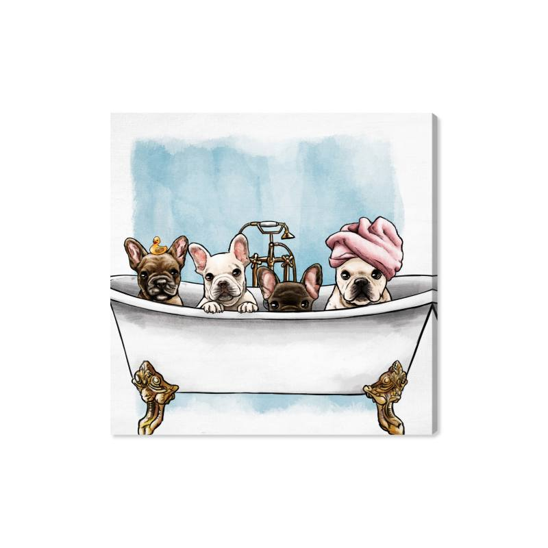 Frenchies in the Tub Wall Art