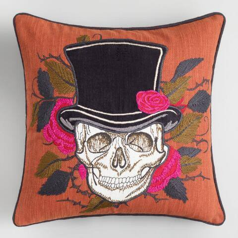 Top Hat Skull Halloween Throw Pillow
