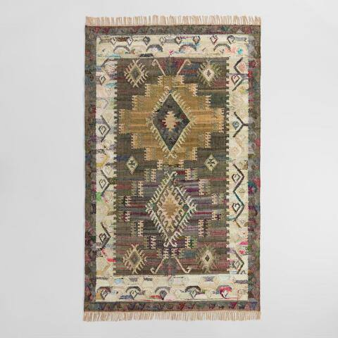 Gray Diamond Cotton Kilim Taja Area Rug
