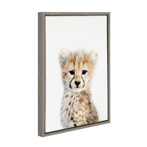 "Kate & Laurel 24""x18"" Sylvie Baby Cheetah Animal Print Portrait By Amy Peterson Framed Wall Canvas Gray"