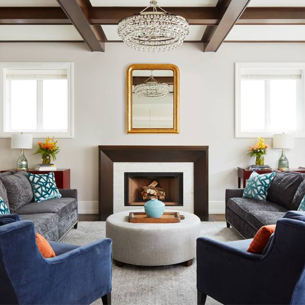 Get the Look: Modern Grey and Blue Living Room With Classic Elements