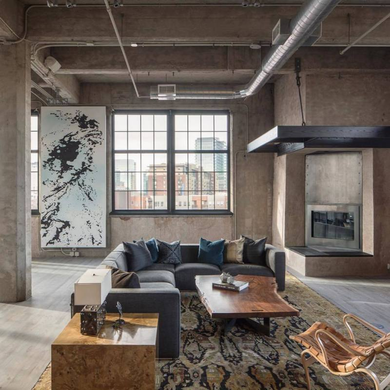 Contemporary Industrial living room
