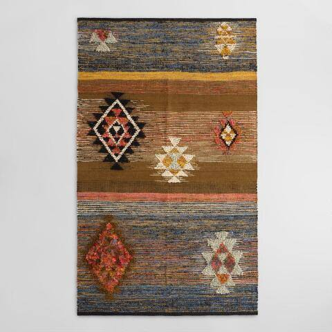 Textured Diamond Moroccan Style Wool Ravi Area Rug