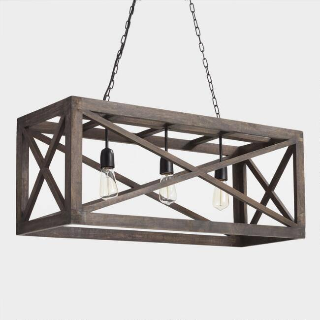 Rectangular Gray Wood 3 Light Valencia Chandelier