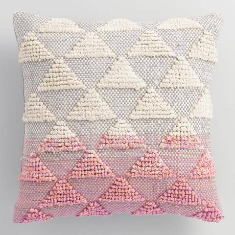 Pink Woven Triangle Indoor Outdoor Throw Pillow