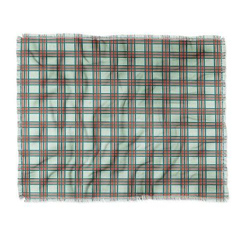 "60""X50"" Holli Zollinger Box Plaid Throw Blanket Green - Deny Designs"