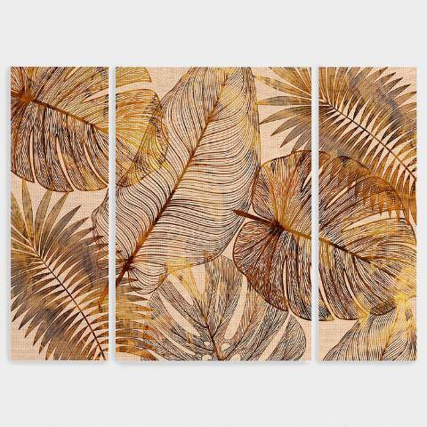 Island Golds Canvas Wall Art Triptych Set of 3
