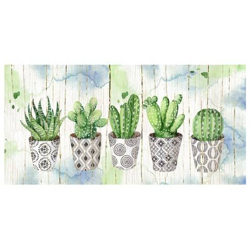 "17""x34"" Potted Succulents On Wood By Elena Vladykina Art On Canvas - Fine Art Canvas"