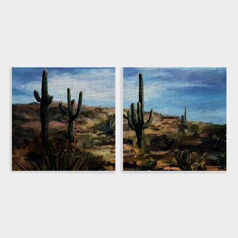 Square Desert Vista Canvas Wall Art Set of 2