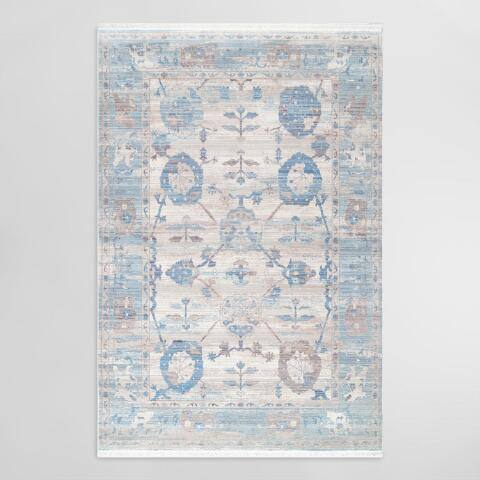 Light Blue Vintage Bouquet Fringe Clara Area Rug