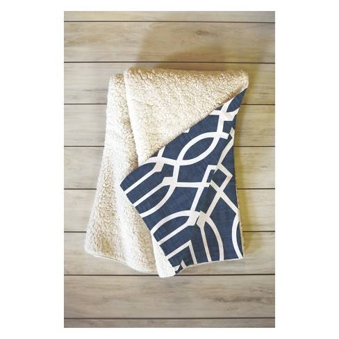 50''x60'' Caroline Okun Dark Linen Trellis Throw Blanket Blue - Deny Designs