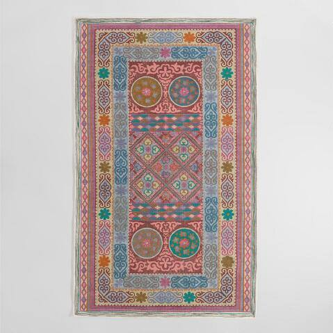 Multicolor Geometric Print Cotton Panji Area Rug