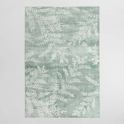 Slate Green Wool and Viscose Yellowstone Area Rug