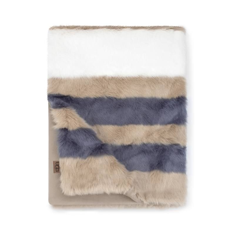 Royale Surf Stripe Faux Fur Throw Blanket
