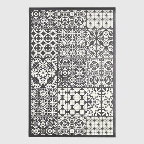 Black And Cream Patchwork Print Vinyl Area Rug