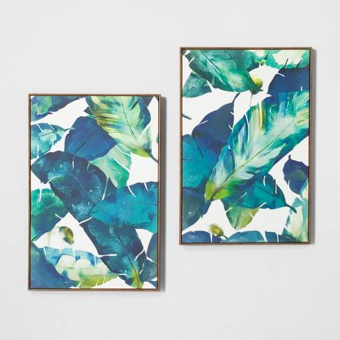 "Tropical Palm 2pk Framed Wall Canvas Blue 23.2""x 35.2"" - Opalhouse�"