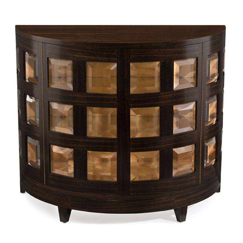 Smoked Demilune Accent Cabinet