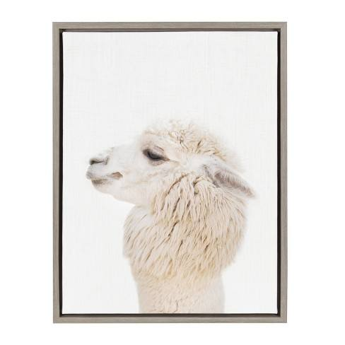"Kate & Laurel 24""x18"" Sylvie Studio Alpaca Animal Print Portrait By Amy Peterson Framed Wall Canvas Gray"