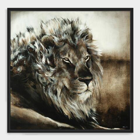 Majestic Lion Wall Art in Black Frame
