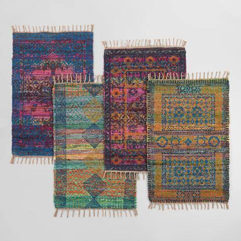 2x3 Multicolor Block Print Chindi Area Rug