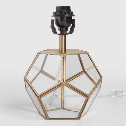 Glass Pentagon Accent Lamp Base