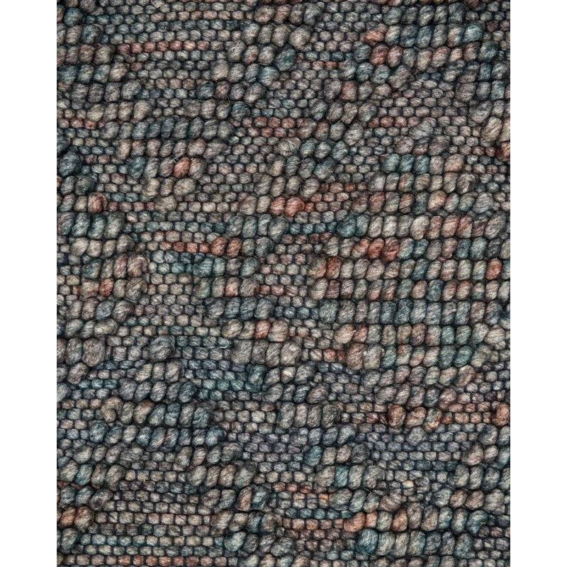 Pom Pom Navy Diamond Contemporary Hand Woven Wool Blue/Purple Area Rug