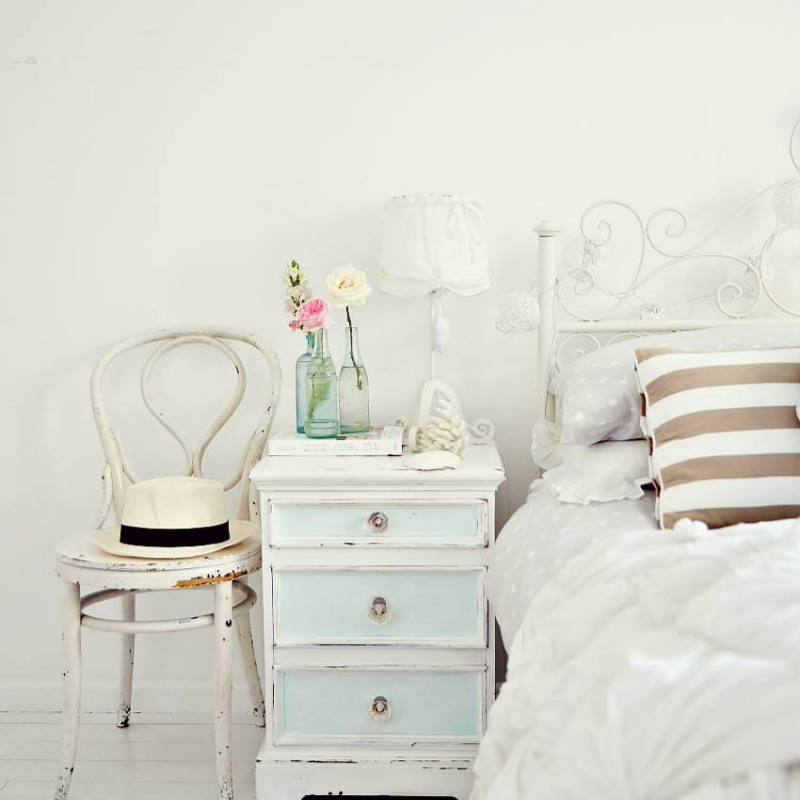 Bright simple all white country farmhouse bedroom
