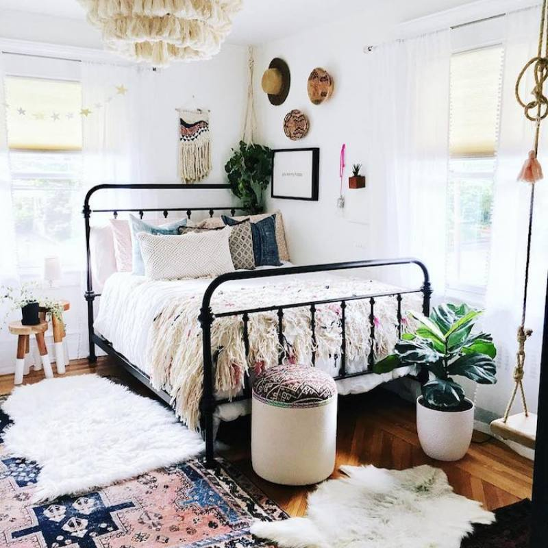 Boho chic eclectic small bedroom