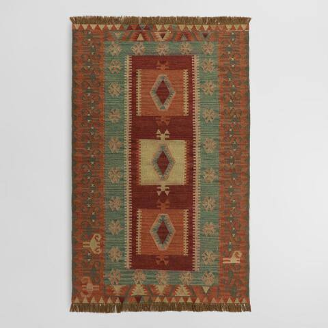 Rust and Mustard Graphic Print Shena Indoor Outdoor Rug