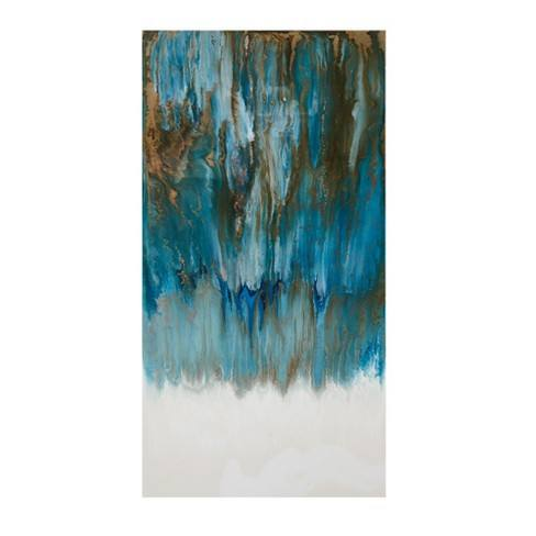 Pearl and Sea Glass Coated Unframed Wall Canvas Teal