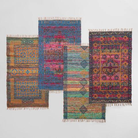 3x5 Multicolor Block Print Chindi Area Rug