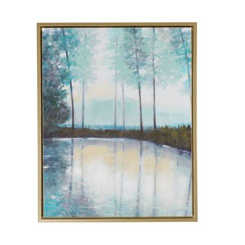 "Serene Setting Hand Embellished Canvas with Frame Green 29.6""x23.6"""