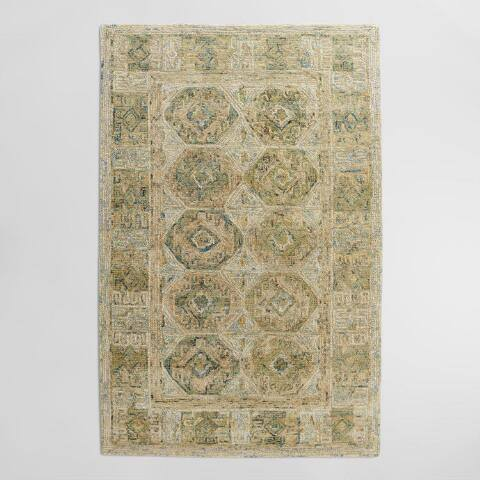 Tonal Green Tufted Wool Khari Area Rug