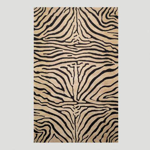 Zebra Tufted Wool Area Rug