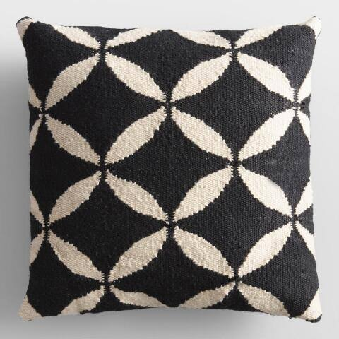 Black and Ivory Petals Woven Indoor Outdoor Throw Pillow