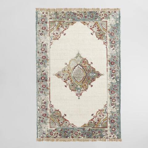 Teal Persian Style Print Cotton and Jute Mirabella Area Rug