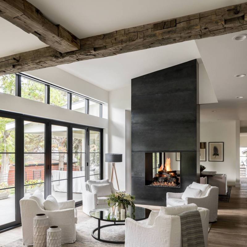 Modern rustic farmhouse living room with a fireplace