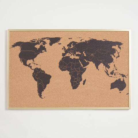 World Map Corkboard in Frame