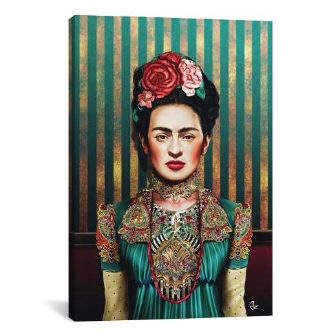 "26""x18"" Frida by Giulio Rossi Unframed Wall Canvas Print Aqua Peacock - iCanvas"